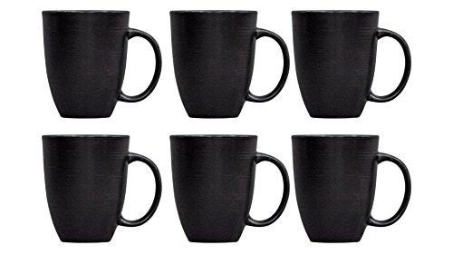 Fancy Design 155 oz Stoneware Round Black Matte Swirl Mugs Set of 6