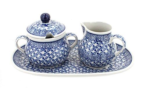 Polish Pottery Olympia Small Sugar Creamer Set with Tray