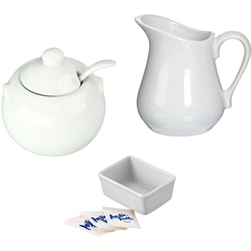 Porcelain White Creamer and Sugar Bowl with Lid Spoon Plus Sweetener Packets Holder - Set of 3