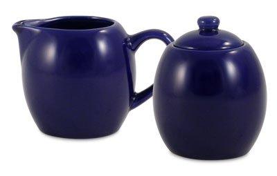 Royal Blue Ceramic Creamer and Sugar Service Set with Lid