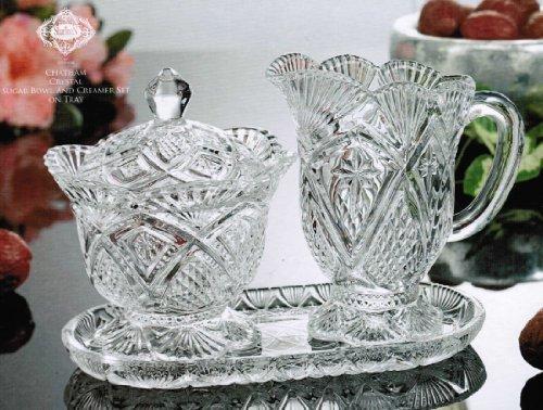 Godinger 34507 Shannon Crystal Chatham Sugar Bowl And Creamer Set On Tray