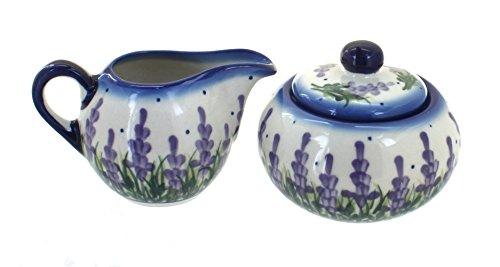 Polish Pottery Lavender Fields Sugar Bowl Creamer