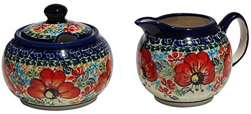 Polish Pottery Sugar Bowl and Creamer From Zaklady Ceramiczne Boleslawiec 694711-296 Art Unikat Signature Pattern Sugar Bowl Height 37 Creamer Height 34