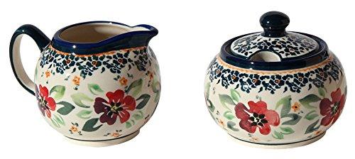 Polish Pottery Sugar Bowl and Creamer From Zaklady Ceramiczne Boleslawiec 694711-du116 Unikat Pattern Sugar Bowl Height 37 Creamer Height 34