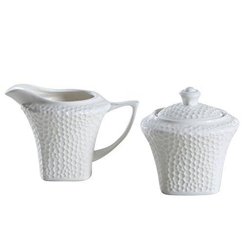 SOLECASA 775-OZ White PorcelainCeramic Sugar and Creamer Set Pitcher and Sugar Bowl Set