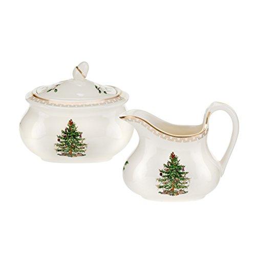 Spode Christmas Tree Gold Sugar Bowl Creamer Set