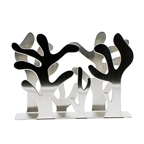 TOPBATHY Stainless Steel Napkin Holder Upright Table Tissue Holder Paper Towel Holder Plant Design