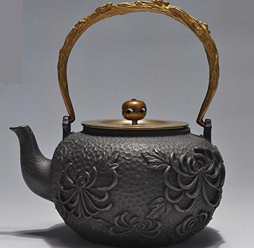 RUIKA Japanese tetsubin Cast Iron Teapot Beautiful Chrysanthemum Flowers pattern Kettle 1400ml 48 Ounce Black