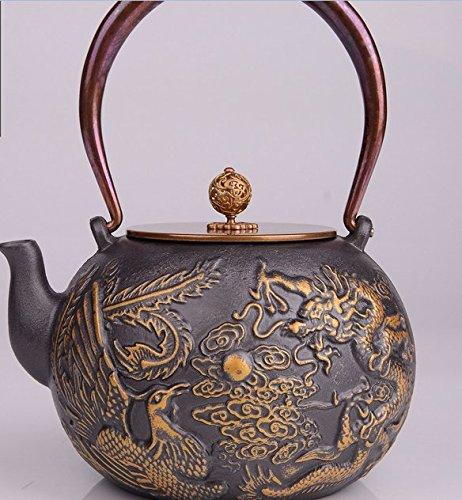 RUIKA Japanese tetsubin Cast Iron Teapot Dragon and phoenix Play beads pattern Kettle 1400ml 48 Ounce