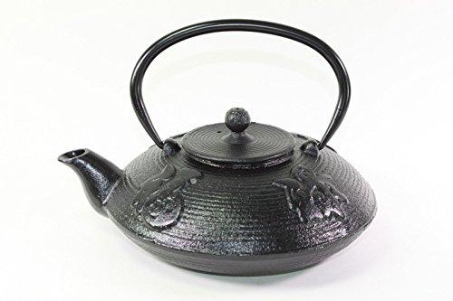 Japanese Antique 24 Fl Oz Black Fu Lu Shou Xi Chinese Cast Iron Teapot Tetsubin with Infuser