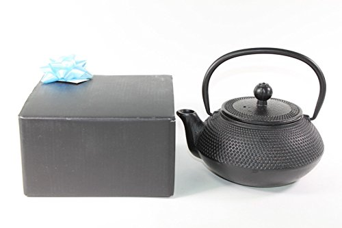 Japanese Antique 24 Fl Oz Black Small Dot Hobnail Chinese Cast Iron Teapot Tetsubin with Infuser  Gift Bow