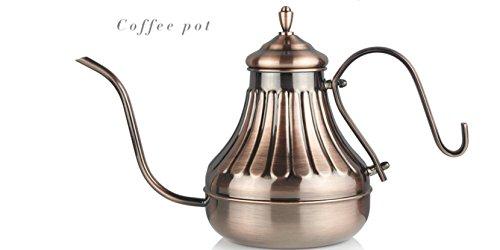 Pour Over Kettle - For Coffee Tea Ergonomic Designed Drip Pot wGooseneck Narrow Spout Gooseneck Stainless Steel Drip Pot for Coffee Tea - Ideal wStovetop Gas IR Etc 450CC