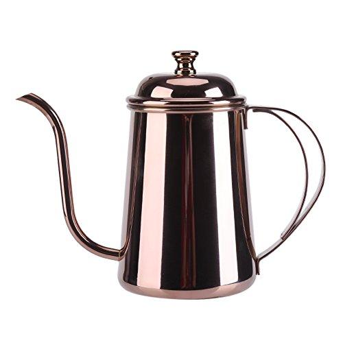 Yosoo Stainless Steel Tea Coffee Kettle Pour Over Coffee Pot Gooseneck Coffeepot Teapot 650ML 22ozRose Gold