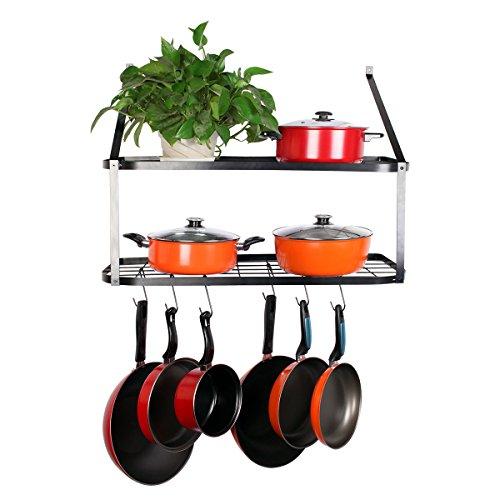 VDOMUS Shelf Pot Rack Wall Mounted Pan Hanging Racks 2 Tire Black 106 H x 295 W x 137 D