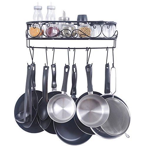 ZESPROKA Kitchen Rack Wall Mounted Pot and Spice Rack With10 Hooks, Black