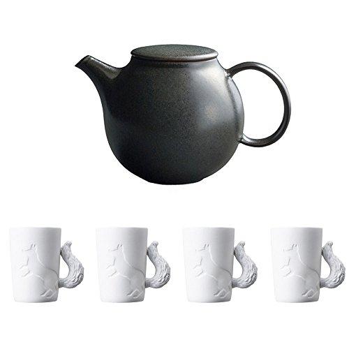 KINTO PEBBLE Black Porcelain Teapot and Four MUGTAIL Fox Porcelain Mug Set of 5