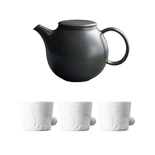 KINTO PEBBLE Black Porcelain Teapot and Three MUGTAIL Bear Porcelain Mug Set of 4