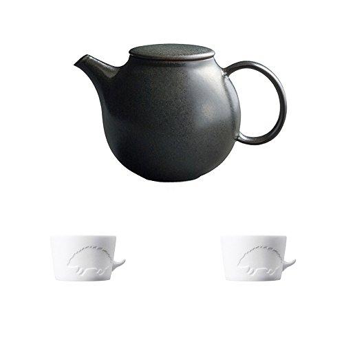 KINTO PEBBLE Black Porcelain Teapot and Two MUGTAIL Hedgehog Porcelain Mug Set of 3