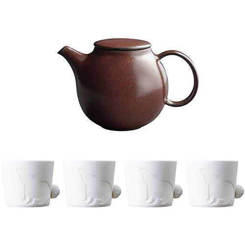 KINTO PEBBLE Brown Porcelain Teapot and Four MUGTAIL Bear Porcelain Mug Set of 5