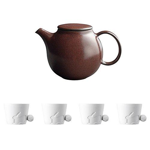 KINTO PEBBLE Brown Porcelain Teapot and Four MUGTAIL Rabbit Porcelain Mug Set of 5