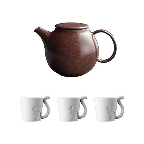 KINTO PEBBLE Brown Porcelain Teapot and Three MUGTAIL Cat Porcelain Mug Set of 4