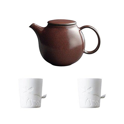 KINTO PEBBLE Brown Porcelain Teapot and Two MUGTAIL Moose Porcelain Mug Set of 3
