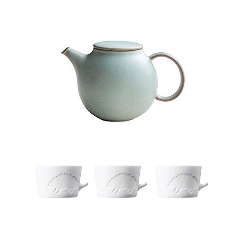 KINTO PEBBLE Moss Green Porcelain Teapot and Three MUGTAIL Hedgehog Porcelain Mug Set of 4