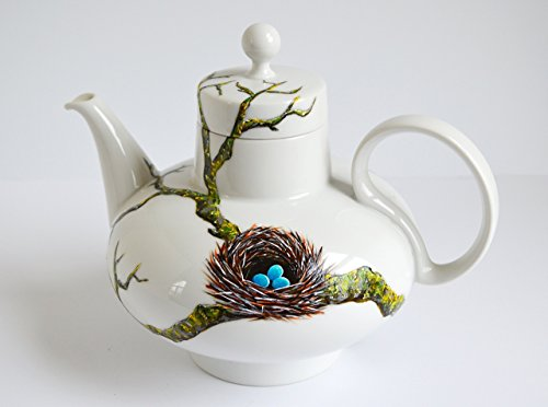 Birds Nest Teapot - Hand Painted Teapot Bluebird Nest Bluebird Eggs Mothers Day Gift