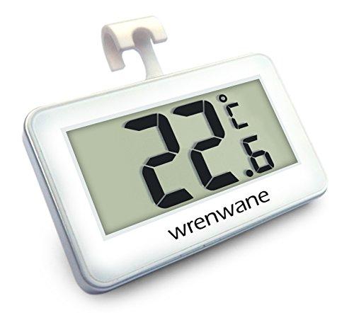 Wrenwane Digital Refrigerator Freezer Room Thermometer No Frills Simple Operation White