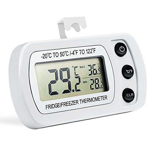Hotloop Digital Refrigerator Thermometer Waterproof Freezer Thermometer with Hook LCD Display
