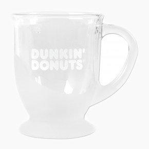 Dunkin Donuts Clear 12 oz Glass Coffee Mug with Handle