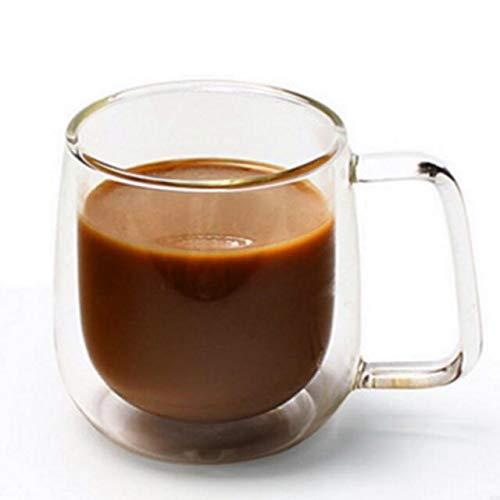 FidgetFidget Mugs Tea Glass Coffee Cup with handle Clear Double Wall Insulated Glass