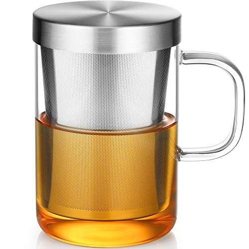 Ecooe Clear Glass Tea Mug Cup with Stainless Steel Infuser Lid for Loose TeaTea Bag 17 Ounce