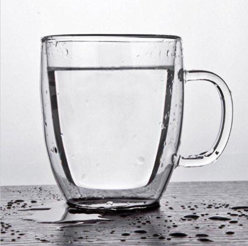 350ml Heat Resistance Glass Mug Clear Double Wall Glass Cup Coffee Milk Tea Beer Mug Handmade Transparent Drinkware Set