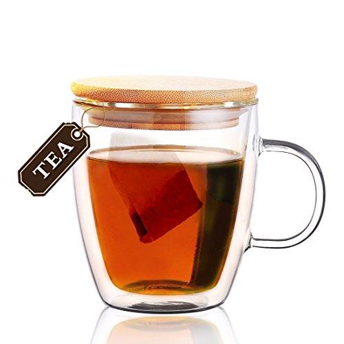 Double-Wall Borosilicate Glass Coffee Mug Tea Cup Travel Mug Tumbler Drinking Mug with Bamboo Lid475ML