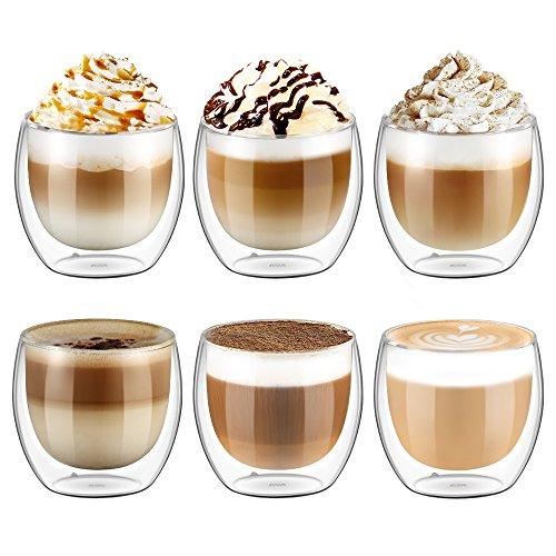 Ecooe 6x250ml88oz nsulated Glass Cups Latte Cappuccino Milk Juice Coffee Glasses