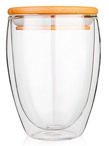 Teemall Double-wall Borosilicate Glass Cup Coffee Mug Cup 1215 oz bamboo lid set of 2 12oz