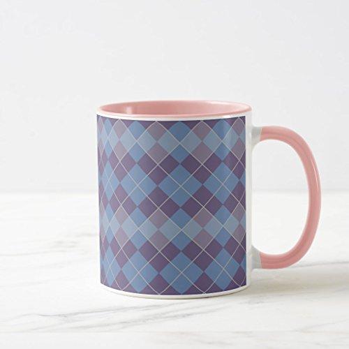 Zazzle Argyle Diamond Plaid Pattern in Blue and Purple Coffee Mug Pink Combo Mug 11 oz