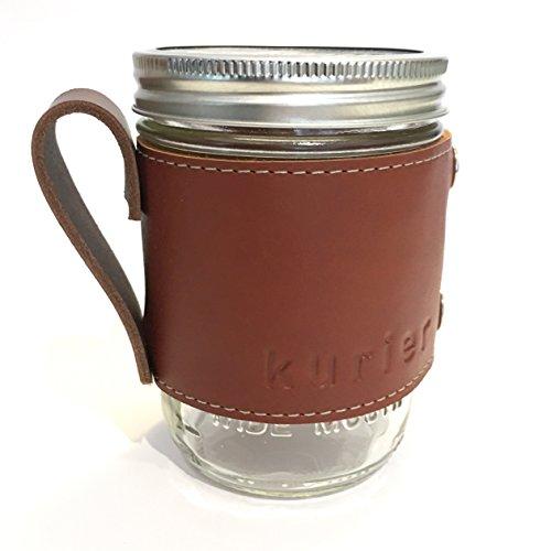 Kurier brown removable full grain leather Camp Mug  glass mason ball canning jar mug travel coffee cup with handle handmade in USA 16 oz glass jar included