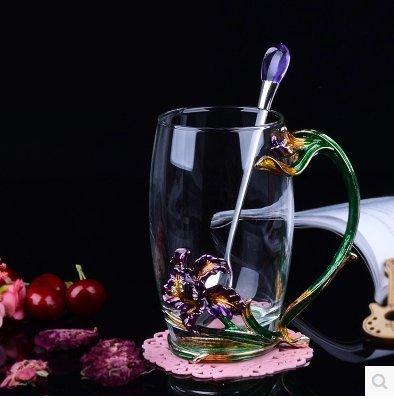 Fashion Creative Iris Glass Tea Cup Coffee Mug Cups Spoon with gift box Green 118 oz