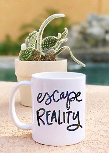 Escape Reality Galaxy Print Cute Design Handlettered Ceramic Plastic Travel Coffee Mug Tumbler Drink Cup