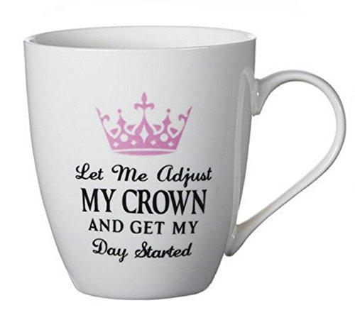 Pfaltzgraff Let Me Adjust My Crown And Get My Day Started Porcelain Large 18 Oz Coffee Mug - Pink