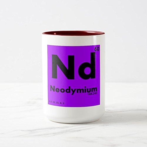 Zazzle 60 Neodymium  Periodic Table Of Elements Frosted Glass Coffee Mug Maroon Two-Tone Mug 15 oz