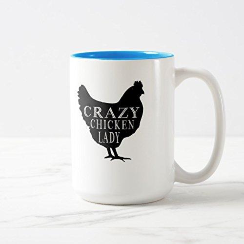 Zazzle Cute Crazy Chicken Lady Frosted Glass Coffee Mug Light Blue Two-Tone Mug 15 oz