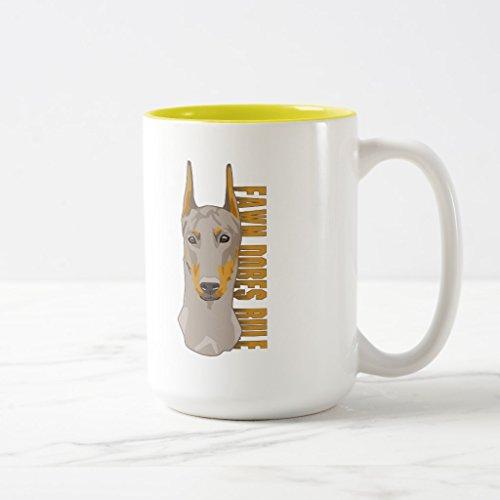 Zazzle Doberman Head Fawn Dogs Rule Frosted Glass Coffee Mug Yellow Two-Tone Mug 15 oz