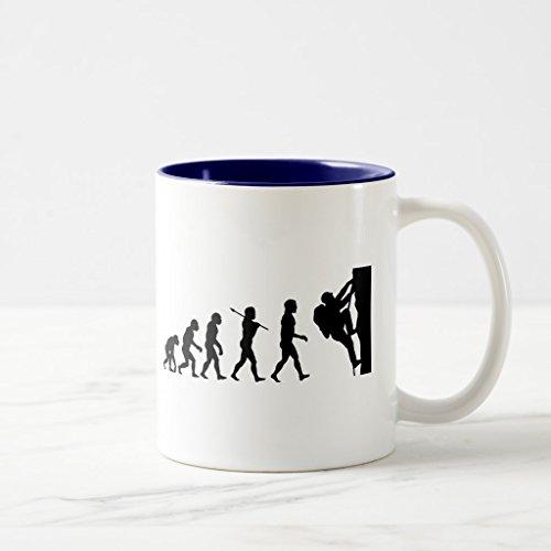 Zazzle Rock Climbing Evolution Frosted Glass Coffee Mug Navy Blue Two-Tone Mug 11 oz
