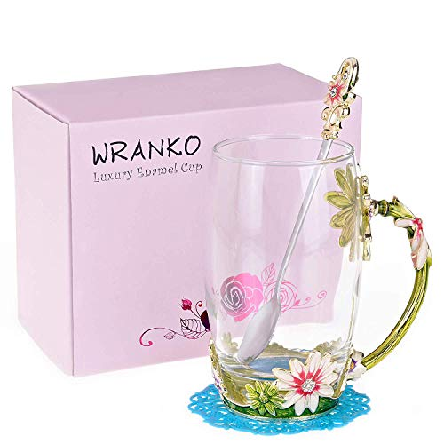 Flower Glass Tea Mug WRANKO 12oz Lead Free Handmade Pink Glass Cup Drinking Mugs Unique Personalized Birthday Gift Ideas for Women Mom Grandma Teachers Hot Beverages 1Pack