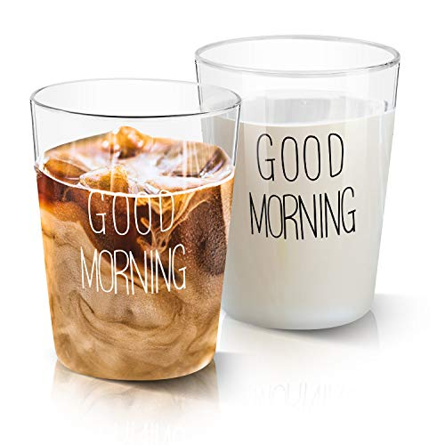 GOOD MORNING Glass Cups Growom Funny Glass Coffee Cups Cool Novelty Tea Mugs Coffee Cups for Women Men Best Birthday and Christmas Gift for Mom Dad Friends Set of 2 135Oz