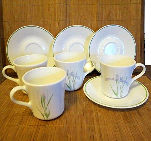 8 pc Set Corelle Corning Ware Shadow Iris 4 Coffee Cups  Mugs and 4 Saucers