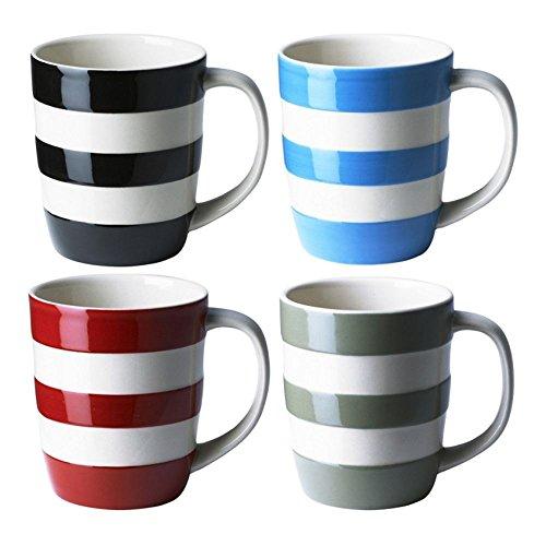 Cornishware Multicolored White Stripe Set of 4 Coffee Cups Mugs 12oz Bright Design - 850934CB4